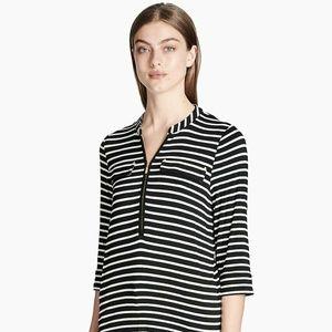 Calvin Klein Top Blouse Black White Stripes Zip S